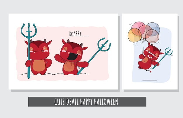 Плоский милый набор персонажа дьявола счастливого хэллоуина иллюстрации для детей