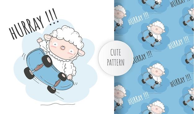 スケートボードの平らなかわいい羊。イラストシームレスパターン