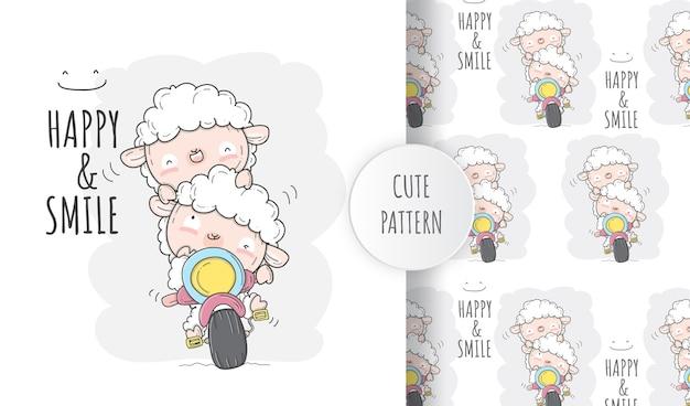 Bicylceの平らなかわいい羊。イラストシームレスパターン