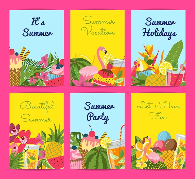 Flat cute summer elements, cocktails, flamingo, palm leaves card set