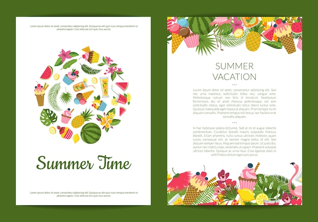 Flat cute summer elements, cocktails, flamingo, palm leaves card