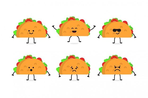 Flat cute tacos food character illustration set