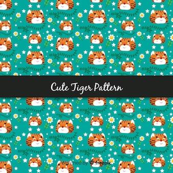 플랫 귀여운 호랑이 패턴