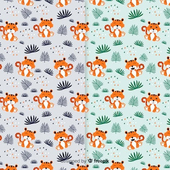 Flat cute tiger pattern