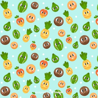 Flat cute tropical fruits pattern
