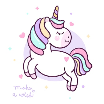 Flat cute unicorn