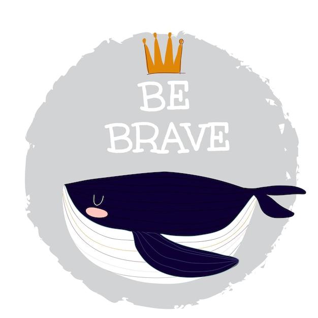Плоский милый кит мультфильм животных иллюстрации