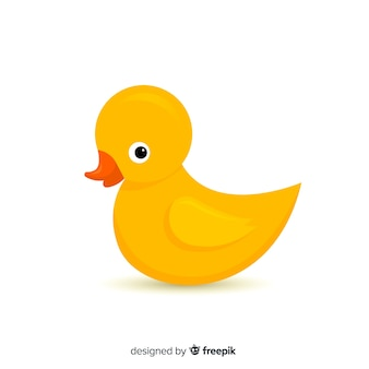 Flat cute yellow rubber duck