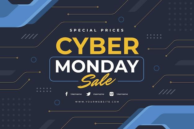 Sfondo piatto cyber lunedì
