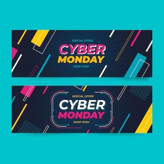 Flat cyber monday horizontal banners set