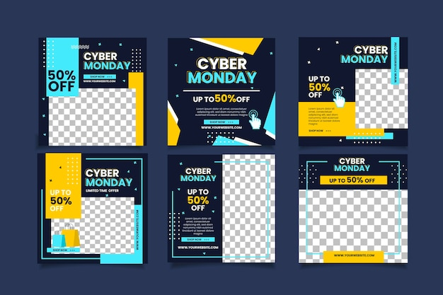 Flat cyber monday instagram posts collection
