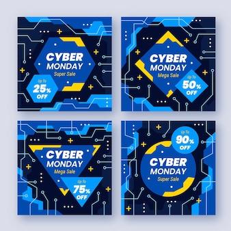 Collezione di post instagram di cyber lunedì piatto