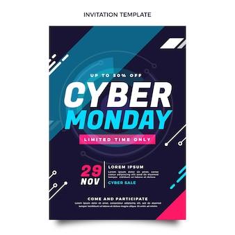 Flat cyber monday invitation template