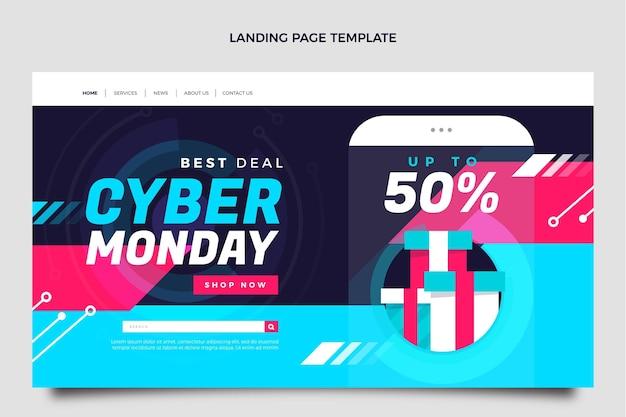 Flat cyber monday landing page template