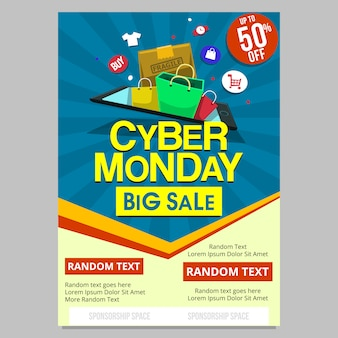 Flat cyber monday online shopping flyer poster template