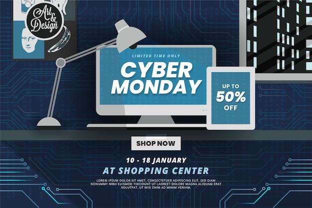 Fondo piatto di vendita di lunedì cyber