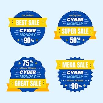 Collezione di distintivi di vendita di cyber lunedì piatto