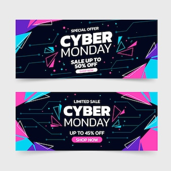Flat cyber monday sale horizontal banners set