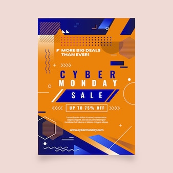 Flat cyber monday vertical poster template