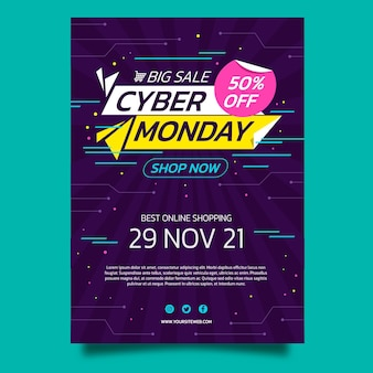 평면 사이버 월요일 세로 포스터 템플릿