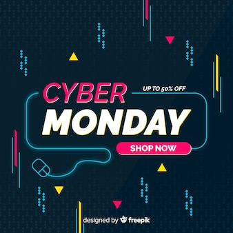 Flat cyber monday with neon light mouse