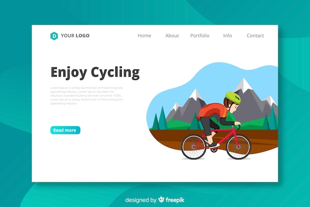 Flat cycling landing page template