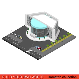 Flat d isometric cinema entertainment mall disco night club building block infographic concept
