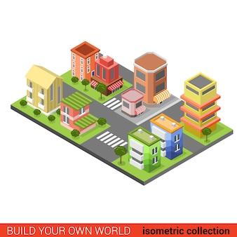 Flat d isometric city street cross building block infographic concept