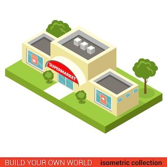 평면 d 아이소 메트릭 도시 슈퍼마켓 빌딩 블록 infographic 개념