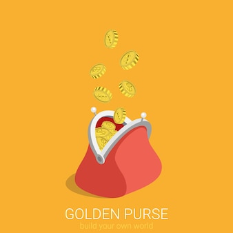 Flat d isometric creative golden purse web infographics concept