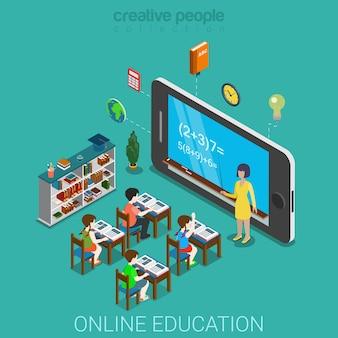 플랫 d 아이소 메트릭 창조적 인 모바일 교육 웹 인포 그래픽 교육 지식 개념