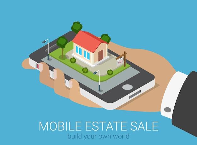 평면 d 아이소 메트릭 창조적 인 모바일 부동산 판매 웹 인포 그래픽 개념