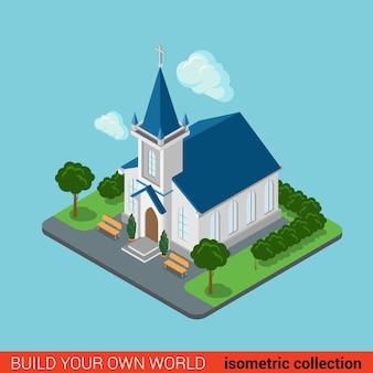Flat d isometric creative modern christian church building block info graphic concept