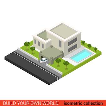 플랫 d 아이소 메트릭 창조적 인 현대적인 세련된 가족 집 주차장 뒤뜰 수영장 빌딩 블록