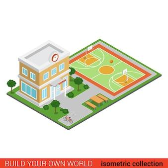 평면 d 아이소 메트릭 창조적 인 학교 현대 건물 경기장 블록 정보 그래픽 개념