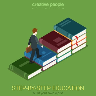Flat d isometric creative way to education and success web infographics concept