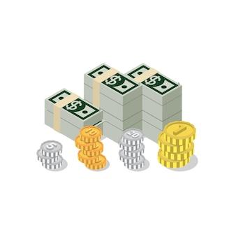 Mucchio isometrico piatto d del concetto di infographics di web della moneta del pacchetto della banconota del dollaro