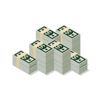 Flat d isometric heap of dollar banknote pack web infographics concept