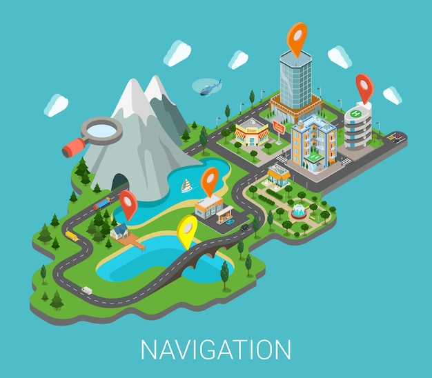 Flat d isometric map mobile gps navigation app infographic concept