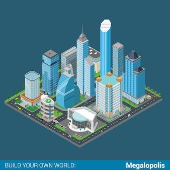 Плоский d изометрические мегаполис бизнес центр города строительный блок инфографики концепция