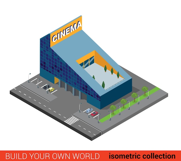 Flat d isometric modern glass cinema building block infographic concept