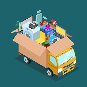 Flat d изометрическая онлайн-доставка через интернет или концепция перемещения домашнего офиса