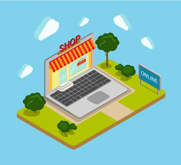 Flat d isometric online shop shopping web infographics concept