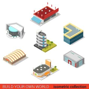 Плоские d изометрические общественные здания блокируют инфографическую концепцию