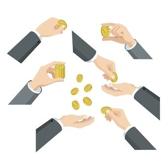 Set isometrico piatto d delle mani con monete web infographics