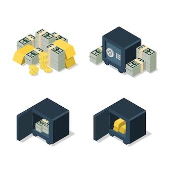 Плоский d изометрический набор долларовой банкноты, монеты, золотой слиток, куча, безопасность, концепция веб-инфографики