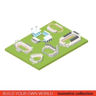 플랫 d 아이소 메트릭 스포츠 경기장 지상 놀이터 빌딩 블록 인포 그래픽 개념