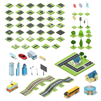 Flat d isometric street road sign building blocks infographic concept set