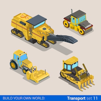Flat d isometric style modern road highway surface making construction site