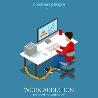 Flat d isometric style work addiction business concept web infographics vector illustration man worker chained to table working with computer creative people collection
